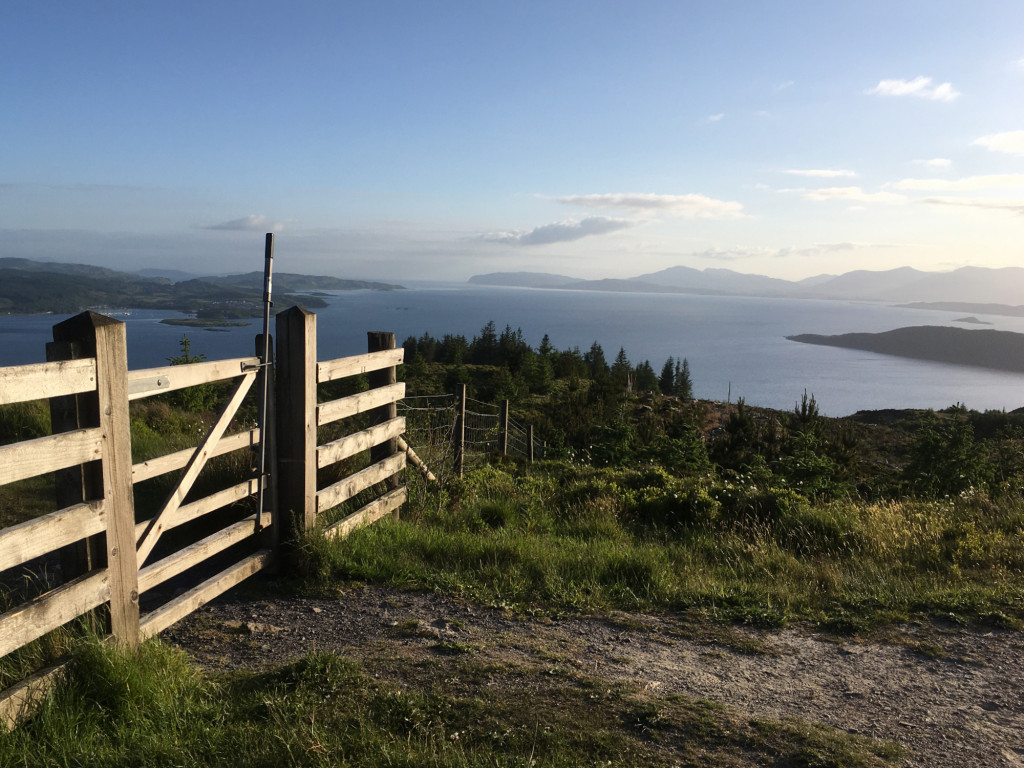 the gate to Beinn Lora, with view south down the Firth of Lorn